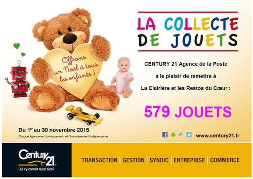 Collecte de Jouets 2015 Century21 Agence de la Poste