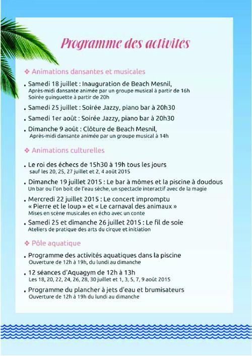 Programme BEACH MESNIL