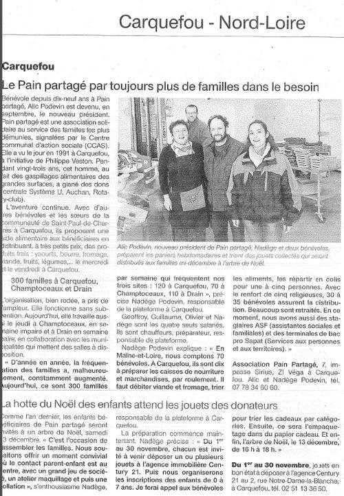 Ouest France 30 octobre 2014 collecte de jouets à Carquefou
