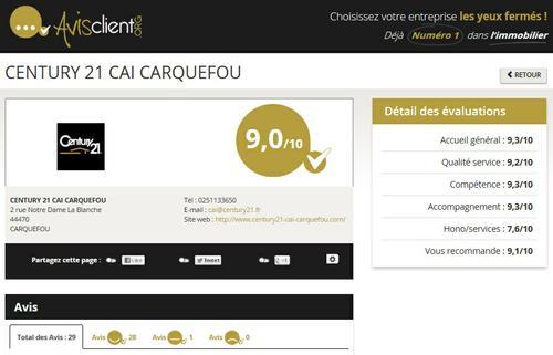 réputation agence immobilière Century 21 CAI à Carquefou