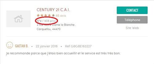 l'agence immobilière Century 21 de Carquefou, 4ème meilleure agence de Loire Atlantique sur les avis immobilier!