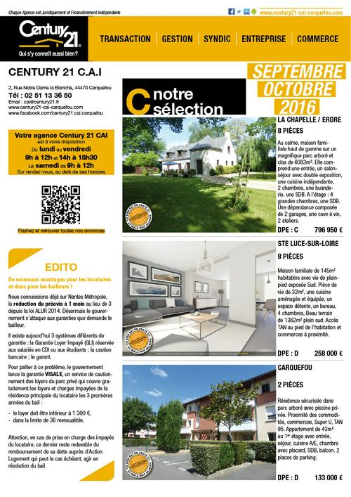 Journal septembre octobre de l'agence immobilière Century 21 CAI de Carquefou
