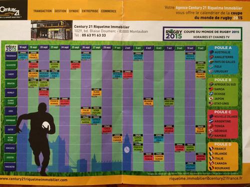 Planning coup du Monde de RUGBY 2015 Londres